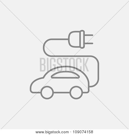 Electric car line icon for web, mobile and infographics. Vector dark grey icon isolated on light grey background.