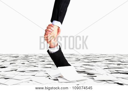 One Hand Helps No To Sink In The Sea Of Paper, Bureaucracy Concept