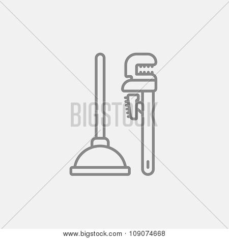 Pipe wrenches and plunger line icon for web, mobile and infographics. Vector dark grey icon isolated on light grey background.