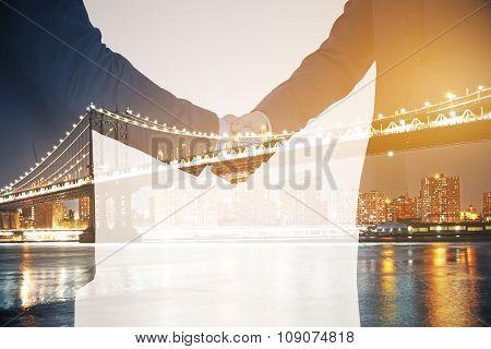 Double Explosure With Businessmen And Night City Bridge
