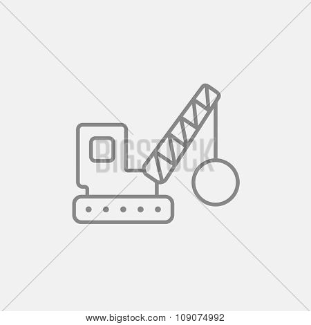 Demolition trailer line icon for web, mobile and infographics. Vector dark grey icon isolated on light grey background. Wrecking ball.