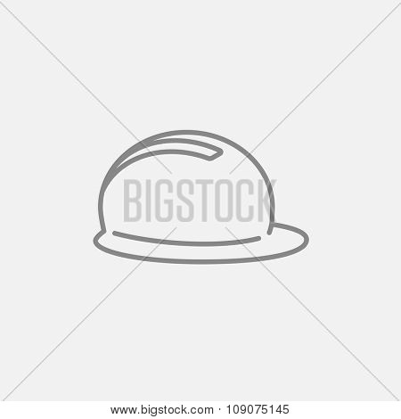 Hard hat line icon for web, mobile and infographics. Vector dark grey icon isolated on light grey background.