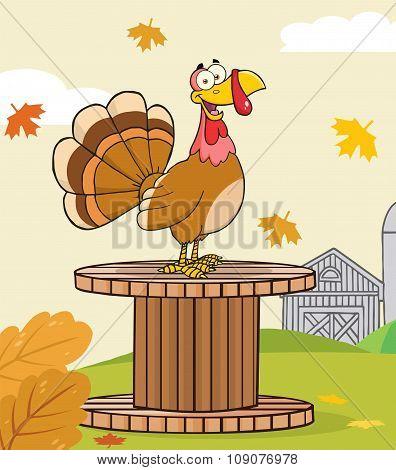 Funny Turkey Bird Cartoon Character On A Giant Spool