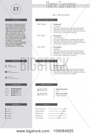 Vector creative resume template. Minimalistic gray and white style. CV light infographic elements. Business personal job document. poster
