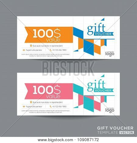 Gift Voucher Coupon Template With Colorful Quadrangle Pattern