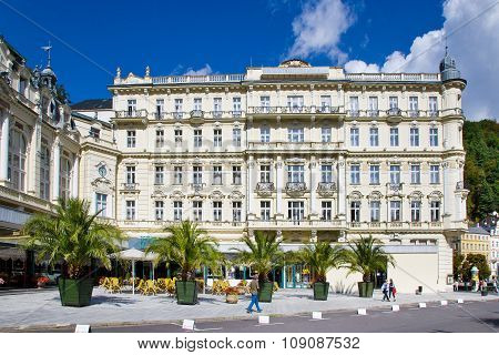 KARLOVY VARY CZECH REPUBLIC - AUG 16 2013: Grandhotel Pupp in spa town Karlovy Vary West Bohemia Czech republic. Famous historical springs most visited in CR.