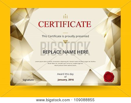 Geometry Diploma Certificate Template Design With International Print Scale. Vector Illustration.