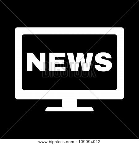 The tv news icon. Television and telly, telecasting, broadcast symbol. Flat Vector illustration poster