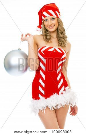 Sexy mrs. Santa smiling and posing on white background isolated