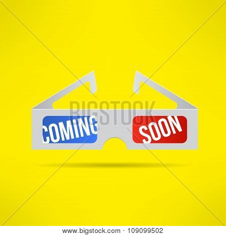 Vector cinema 3d glasses with coming soon text inside. Movie theater announcement design. Letters ar