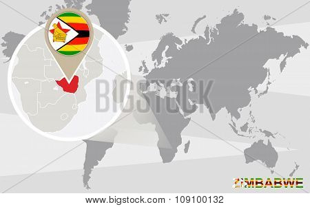 World map magnified zimbabwe vector photo bigstock world map with magnified zimbabwe gumiabroncs Image collections