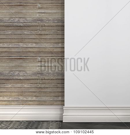 Background Of A White Wall And Boards