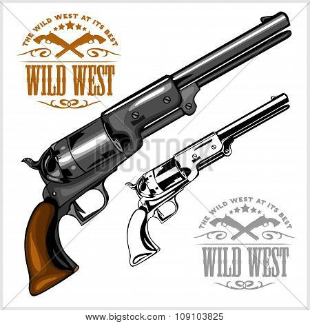 old American colt revolver with emblem wild west