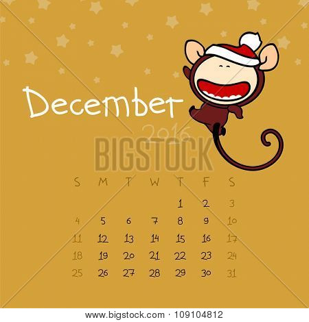Calendar for the year 2016 - December