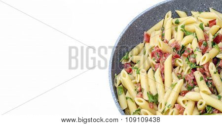 Italian Food: Pasta Called Mezze Pennette With Tomatos In Pieces And Arugula. Pan In White Backgroun
