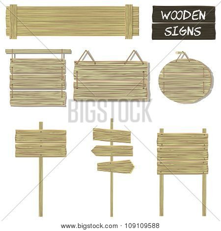 Wooden signs. Vector set of wood signboards, hanging signs and signposts. Isolated elements on white