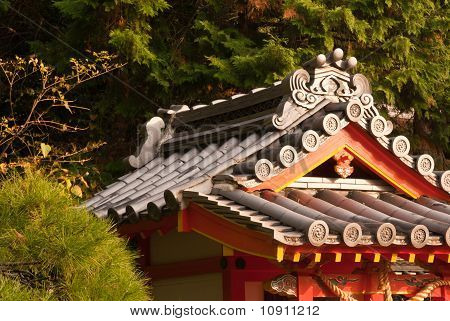 A Closeup Of A Japanese Temple