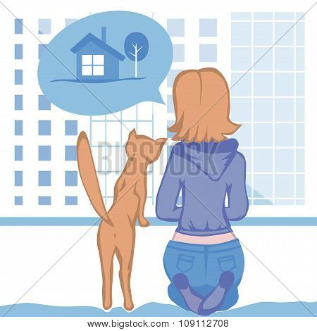 Woman And Cat Dream About Country House