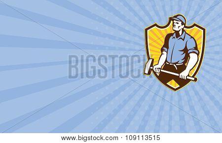Business Card Worker Wielding Sledgehammer Crest Retro