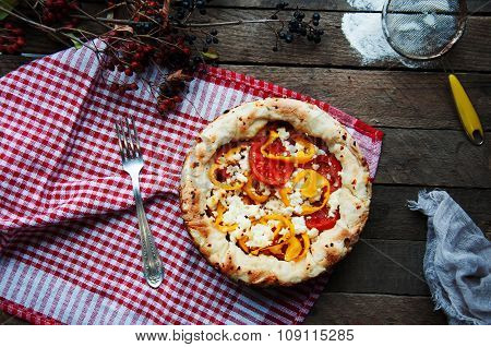 Vegetable ragout , vegetable casserole with tomato, food close up. Vegetable ragout on wood table, c