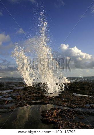 Sea Water Jets On Cadiz Coastline Rocks, Spain