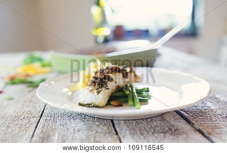 Zander fish fillet dish on a plate