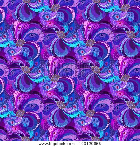 Violet, lilac and blue peacock feathers pattern    background. Vintage design.