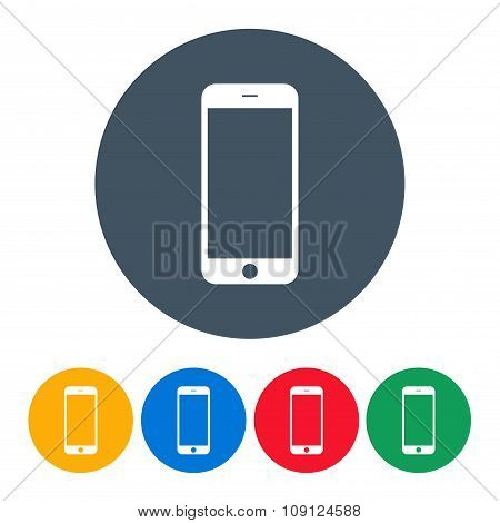 Smartphone Icons Colorful Set On The White Background. Stock Vector Illustration Eps10