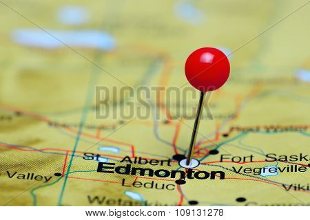 Edmonton pinned on a map of Canada