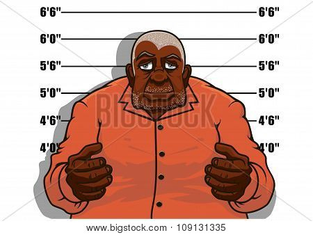 Cartoon gangster man or prisoner
