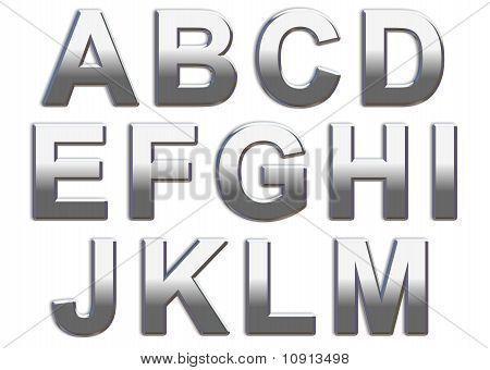 Chrome Capital Letters A-M