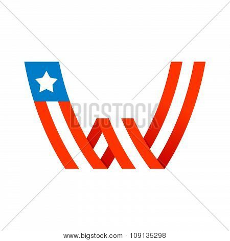 W Letter With American Stars And Stripes.