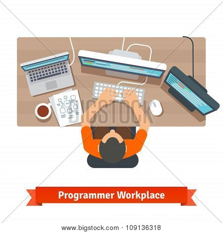 Software programmer typing code or debugging