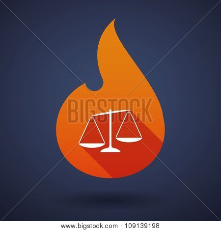 Long Shadow Vector Flame Icon With  An Unbalanced Weight Scale