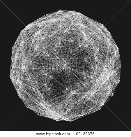 Connection Structure. Wireframe Vector Illustration.