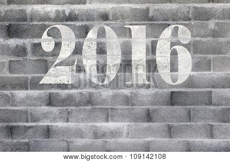 2016 Tag On cinderblock Wall