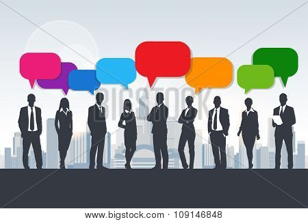 Business People Group Silhouette Speech Chat Bubbles Communication