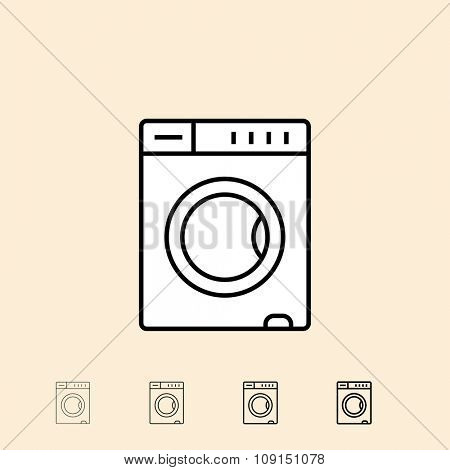 Washing machine icon. Vector icon in four different thickness. Linear style