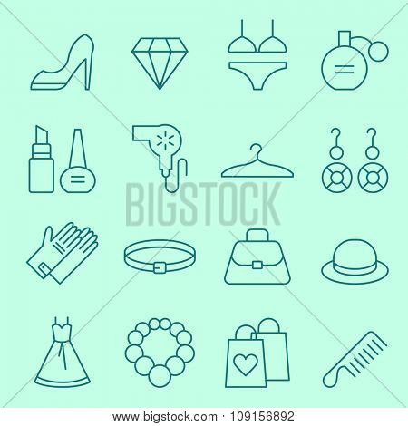 Fashion and women accessories icons, thin line design