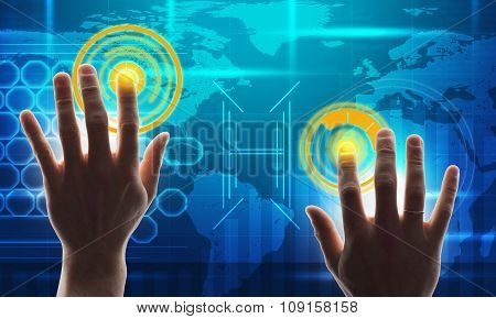 Hands with blue holographic screen