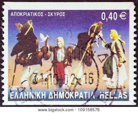 GREECE - CIRCA 2002: A stamp printed in Greece shows Apokriatikos dance, Skyros island