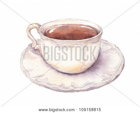Vintage cup and saucer in provence style with tea or coffee. Watercolor