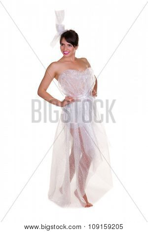 Funny photo of a young woman with nothing to wear but waste materials - this is part of a series with jute bag, toilet paper, bubble wrap etc