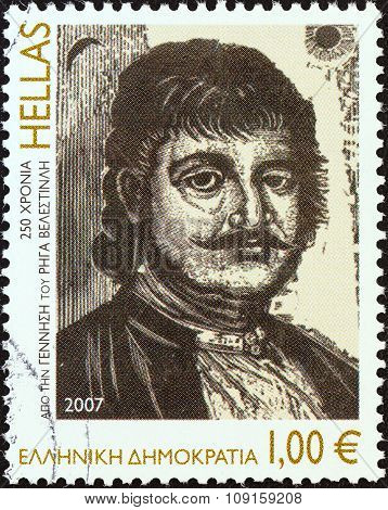 GREECE - CIRCA 2007: A stamp printed in Greece issued for the 250th birth anniversary of Rigas Velestinlis shows Rigas Velestinlis (Feraios), engraving by Giannis Gourzis, circa 2007.