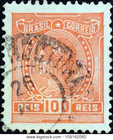 BRAZIL - CIRCA 1918: A stamp printed in Brazil shows Liberty, circa 1918.