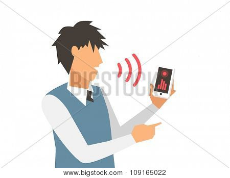 Voice control vector illustration. Smart computer voice control with human voice. Smart phone, smart house, modern computer technology.Voice control command background.Voice control businessman office