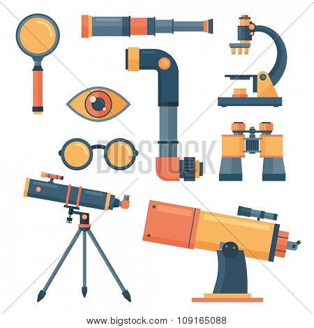 Optical icons vector set. Optical tools collection isolated. Optical equipment, telescope, microscope, glass. Optical lens tools vector icons. professional optical tools set. Optical icons