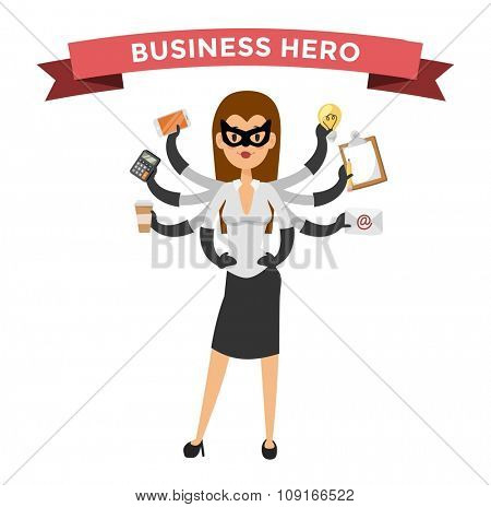 Superhero business woman vector. Super people in business illustration. Super hero business situations, super girl hero office life. Superhero flying, business success people. Team leader, boss, hero