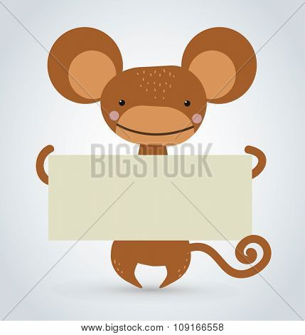 Cartoon monkey ape holding clean white banner. Wild cartoon monkey. Christmas ape monkey. Monkey cartoon illustration. Vector ape holding banner. Monkey isolated. Monkey vector. Monkey cartoon