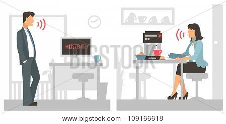 Voice control vector illustration. Smart computer voice control with human voice. Smart phone, smart house, modern computer technology. Voice control girl woman command background. Voice control icon
